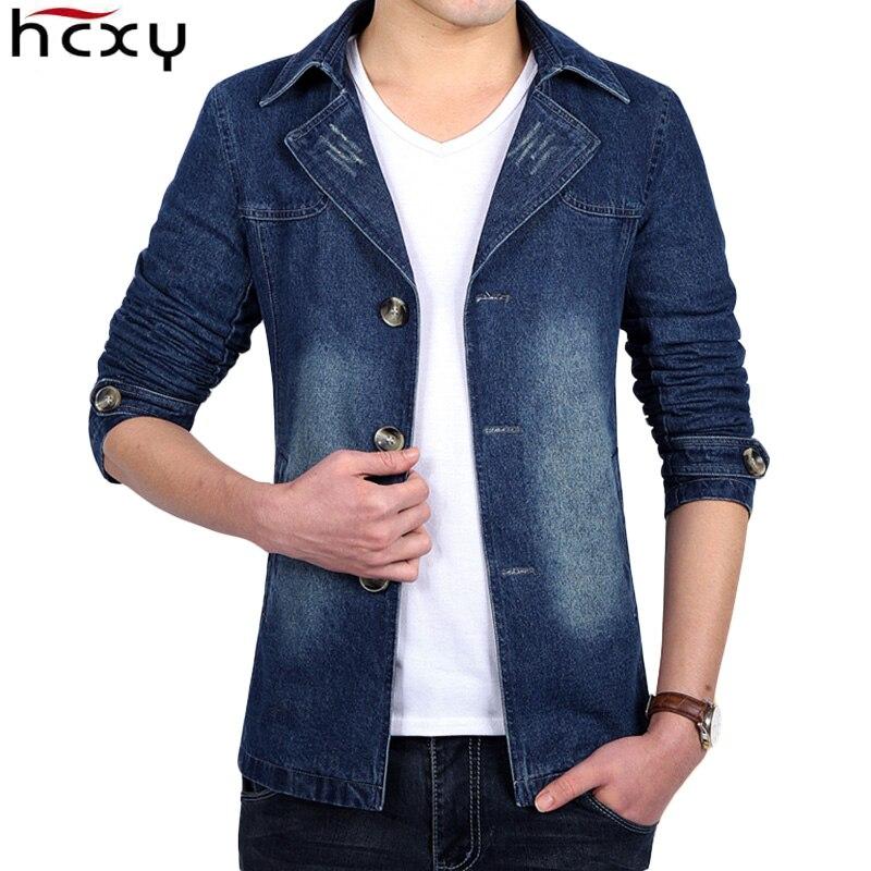 HCXY 2018 New Autumn Men Suit Blazer Trend Jean Suits Jacket Men Business Casual Slim Fit Suit Male Coats Denim Jacket 5XL