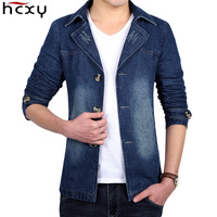 HCXY 2018 New Autumn Men Suit Blazer Trend Jean Suits Jacket Men Business Casual Slim Fit Suit Male Coats Denim Jacket 5XL