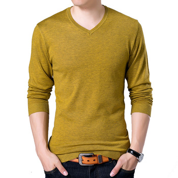 S-2XL Sweater Men 2018 New Casual Slim Pullover Autumn V Neck Solid Color Quality Knitted Brand Male Sweaters