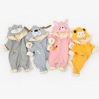 חדש קריקטורה בעלי החיים כובע לטפס ללבוש שכבה כפולה מעובה תינוק של סיאמיים בגדי תינוק Rompers