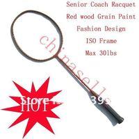 High quality racquet Senior Coach Racquet Badminton Racket Racquet Full Carbon wood grain ,max30lbs,free 1 sweatband,1 line GB
