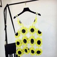 2018 Women Summer Short Vest Beachwear Sexy Hollow Out O Neck Lace Sleeveless Crop Tops Sunflower