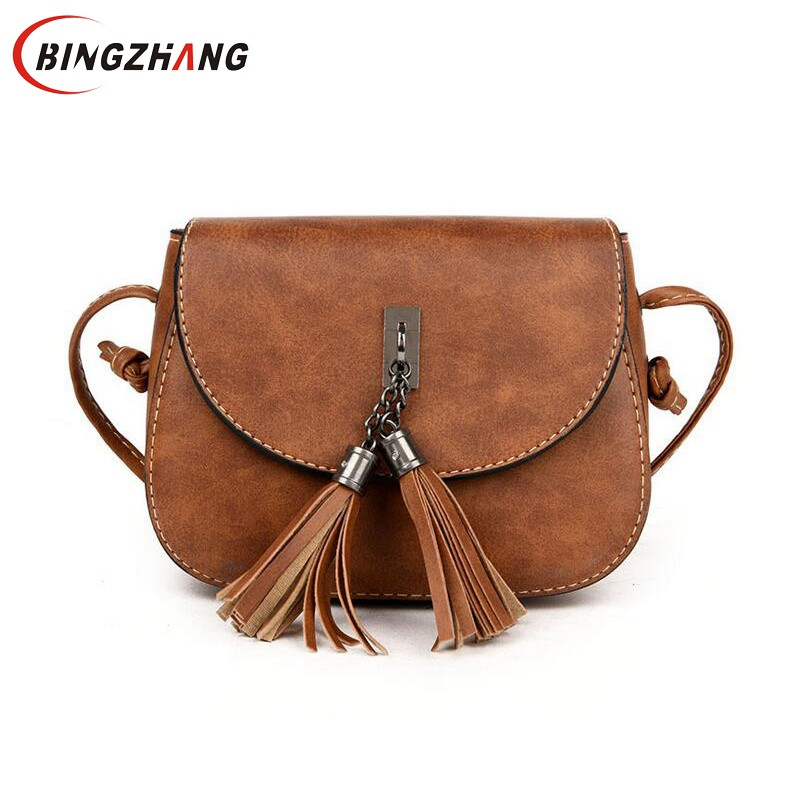 Brand Summer Casual Tassel Leather Women Messenger Bags Female Bag Ladies Purse Small Shoulder Crossbody Bags Sac L4-3020 a1330 summer solid small flap bag ladies leather handbags women messenger bags female shoulder crossbody bag candy color sweet