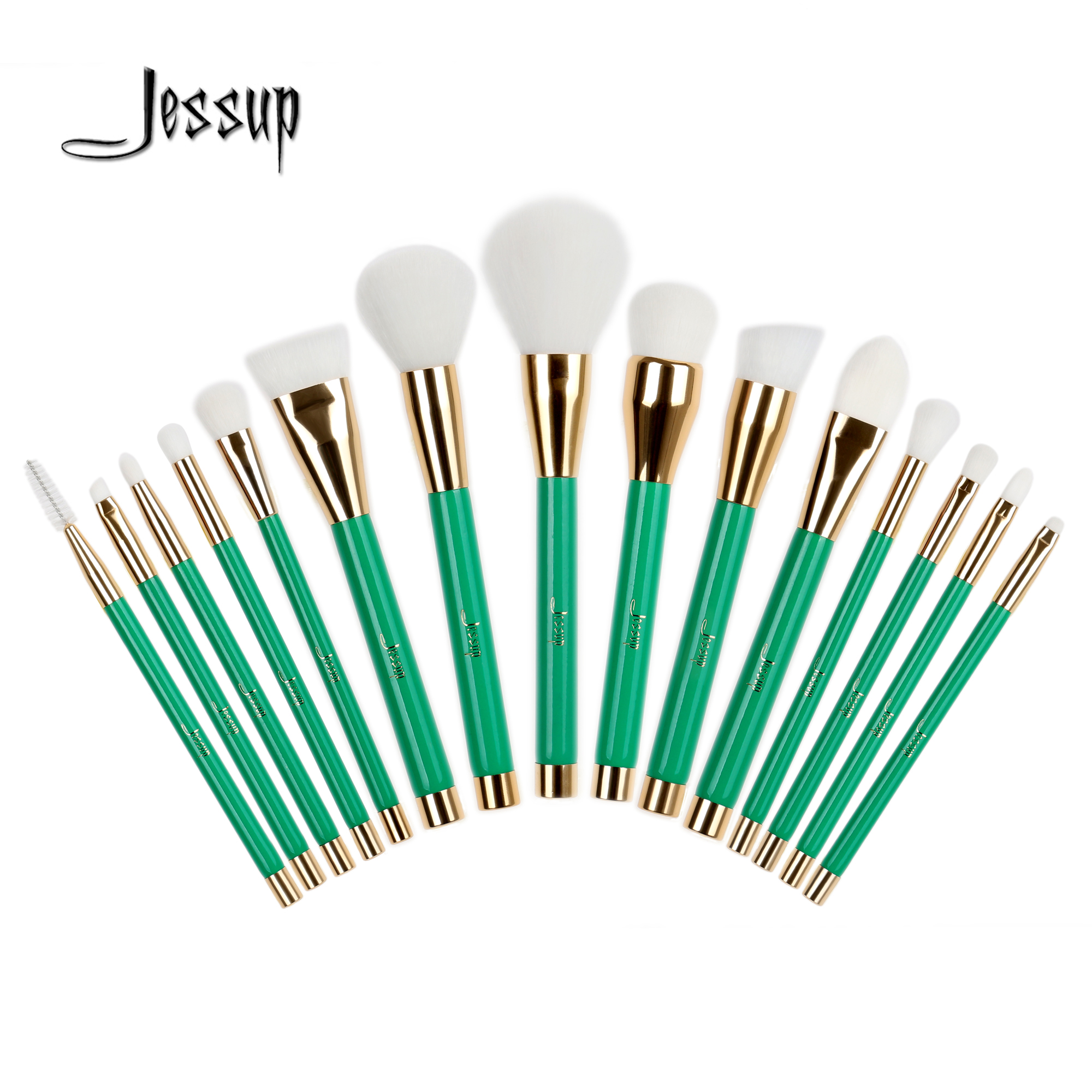 2017  Jessup New 15Pcs Professional Make-up Brushes Set Foundation Blusher Powder Eyeshadow Blending Eyebrow Makeup Brushes T116 just make up сухая подводка brow powder 116 цвет 116 variant hex name 947962