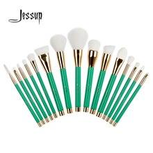 Jessup 15Pcs Professional Make up Brushes Set Foundation Blusher Powder Eyeshadow Blending Eyebrow Makeup Brushes Green/White