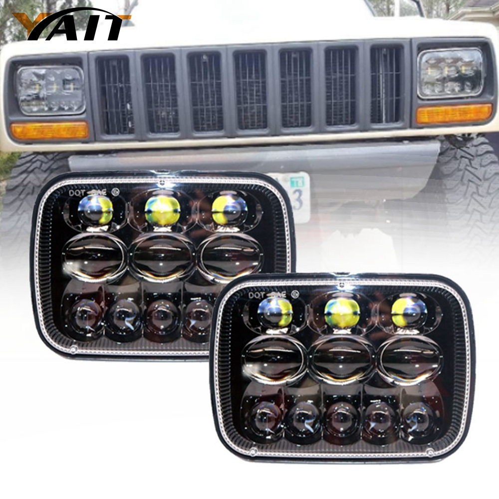 Yait One Pair 5''x7 6x7 inch High Low Beam Led Headlights for Jeep Wrangler YJ Cherokee XJ H6054 H5054 H6054LL 69822 6052 6053 5 x7 6 x7 high low beam led headlights for jeep wrangler yj cherokee xj h6054 h5054 h6054ll 69822 6052 6053 with angel eye