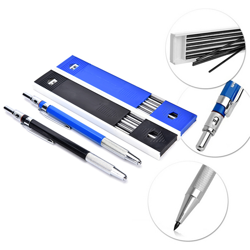 1PC 2.0mm Mechanical Pencil With 12pcs 2.0mm Black Lead Automatic Draughting Mechanical Drafting Pencil Black Leads