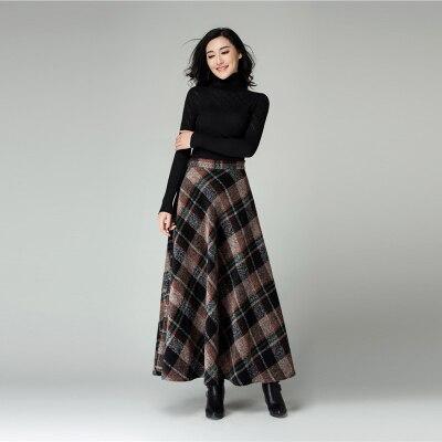 New High quality plaid woolen skirt elegant women's long maxi ...