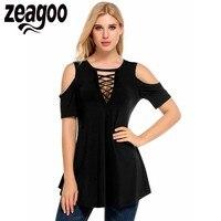 Zeagoo Women T Shirts Cold Shoulder Short Sleeve Tops Hollow Solid Casual Slim Summer Fashion Women