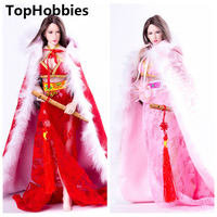 2 Colors For 1/6 Scale 12 Inch Phicen Doll Female Figure Clothes Ancient Skirt + Women Cloak Coat Suit Red/Pink