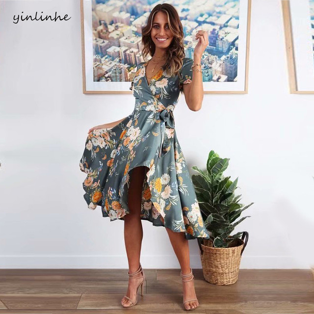 8b359379c7af9 US $17.99 40% OFF|yinlinhe Green Stain Floral Dress Women Elegant 2019  Spring Dress Short Sleeve V neck Bow Tie Slim ruffle midi Dresses summer  39-in ...