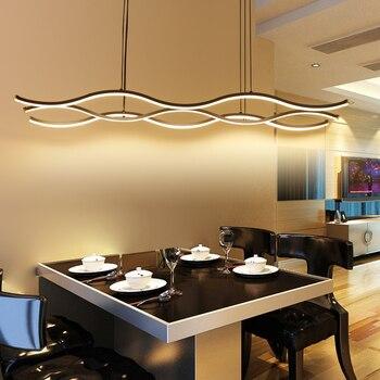 Minimalizm nowoczesne LED Wisząca lampa dla jadalnia pokój kuchnia Bar AC85-265V aluminium wiszące Wisząca lampa oprawy oświetleniowe