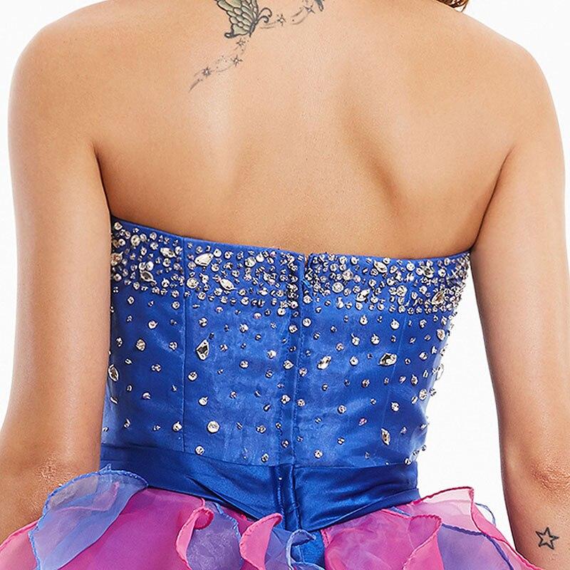 Tanpell straplez kokteyl elbise kraliyet mavi kolsuz boncuklu ilmek - Özel Günler Için Elbise - Fotoğraf 5