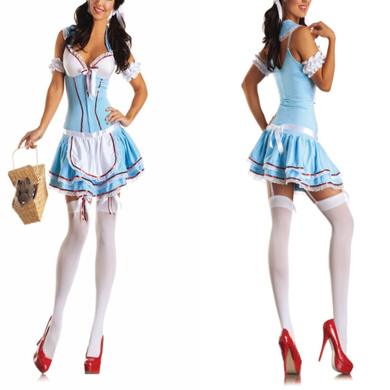 VASHEJIANG Sexy Blue French Maid Costume Adult Fantasia Amazing Cosplay Halloween Costumes Sexy Party Dress Carnival Outfits