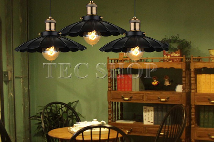 ZYY 1pcs Vintage American Industrial Light LOFT Retro Nostalgia Lamp Cafe bar Restaurant LED Lamps Black Umbrella Pendant Lights - 6