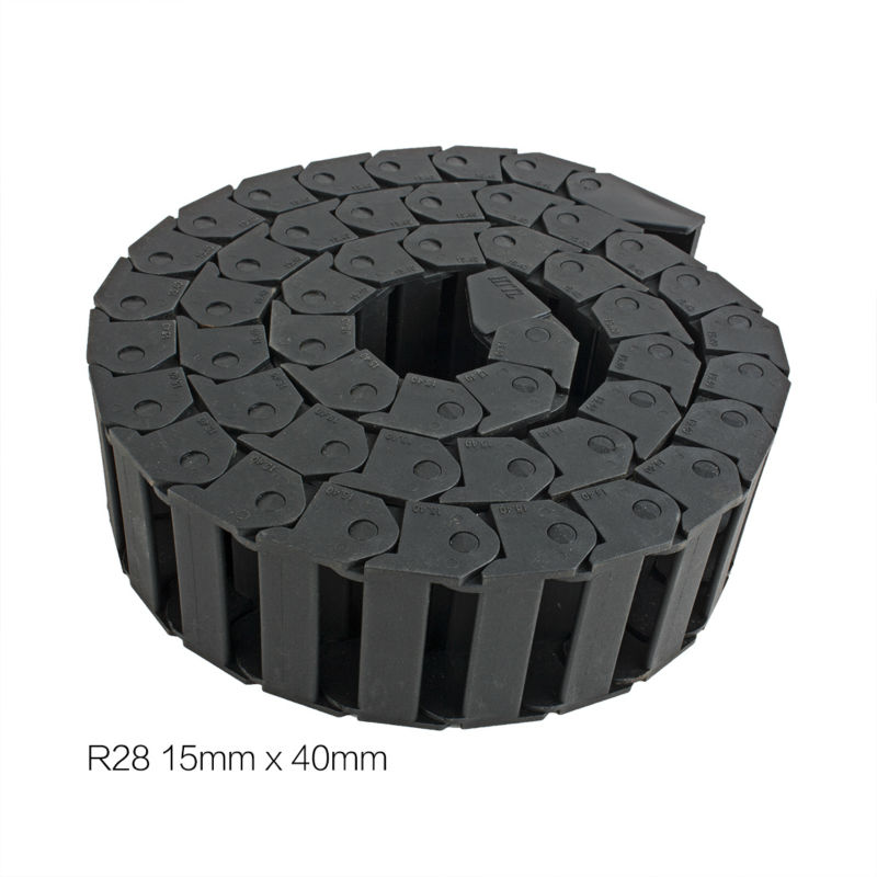 UXCELL 15mm x 40mm R28 Plastic Cable Drag Chain Wire Carrier with End Connector Length 1m for 3D Printer CNC Router Machine Tool 10mm x 15mm r18 plastic cable drag chain wire carrier with end connector length 1m for 3d printer cnc router machine tools