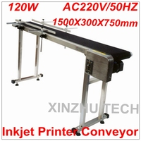 Inkjet Printer Conveyer 1500mm*300mm*750mm 120W Conveying Table Band Carrier CSD120 Belt Conveyor For Bottles/ Box/ Bag/ Sticker