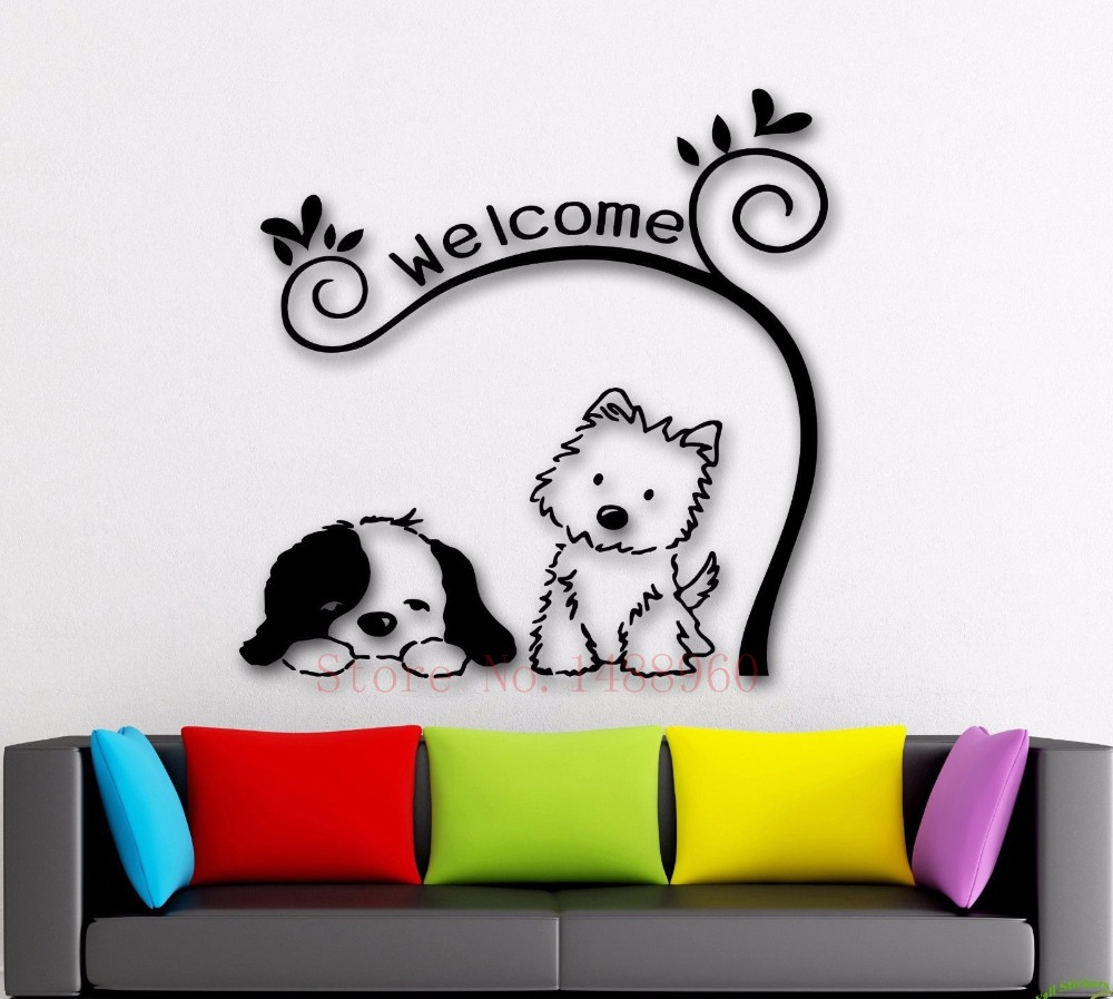 Cute Cat Dog Animal Tracery DIY Puppy Mural Pet Shop Spa Grooming Salon Veterinary Wall Decal Stickers Vinyl Art Home Decor E241