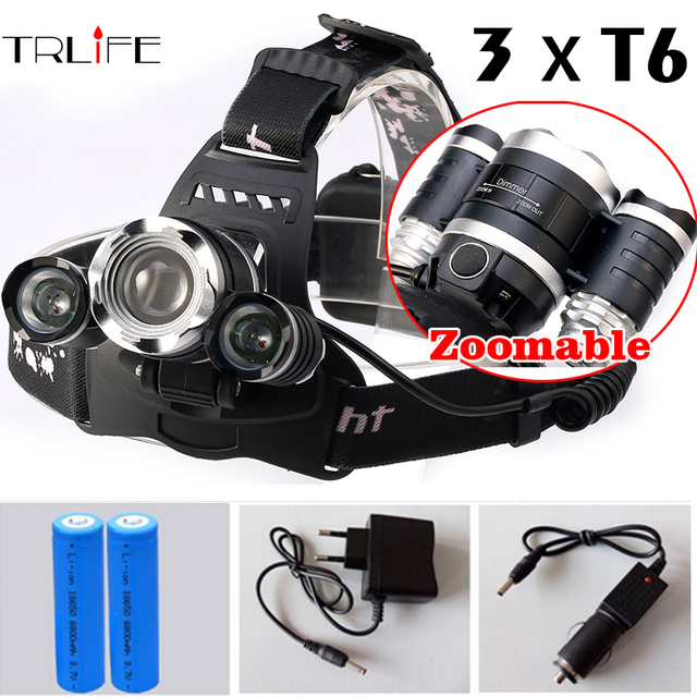 Zoomable Headlight Adjust Focus HeadLamp 12000 Lumen LED CREE XM-L 3xT6  Lamp Light  +18650 Battery+ AC/Car Charger