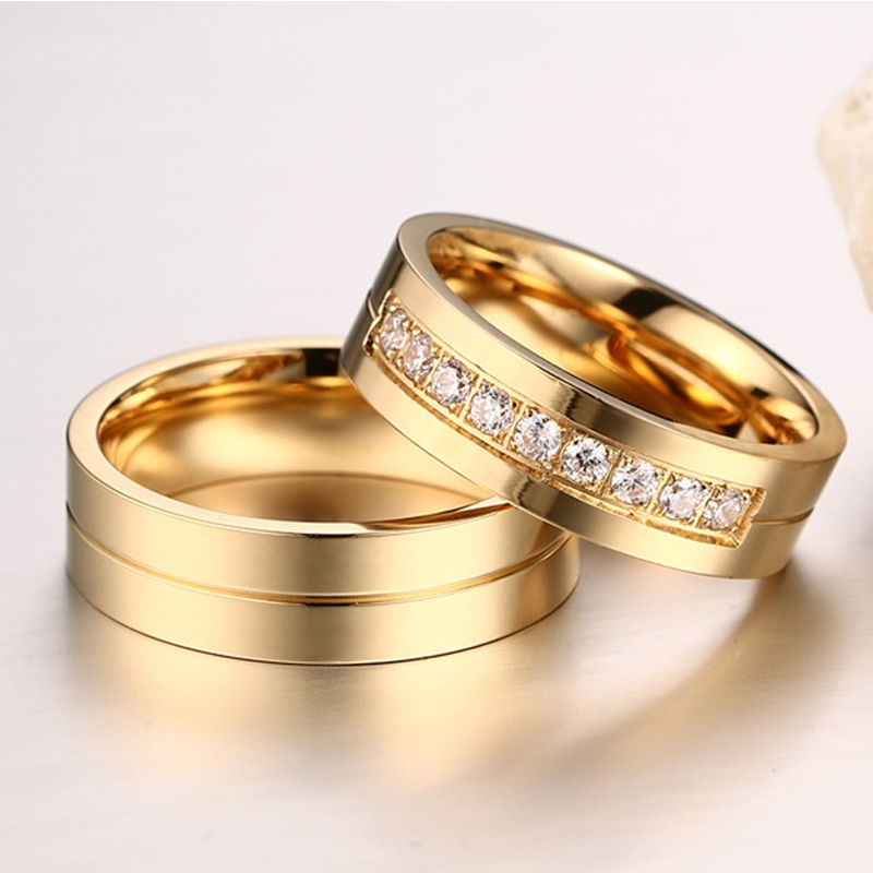 176b8f8050 Meaeguet Gold Color CZ Wedding Rings Lover's Cubic Zirconia Stainless Steel  Romantic Ring Jewelry USA Size-in Wedding Bands from Jewelry & Accessories  on ...