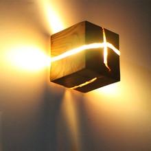 אירופאי סגנון אמנות קישוט LED ליד המיטה בחדר שינה מעבר מקורה בית אור גופי G4 עץ קיר מנורות לסלון חדר