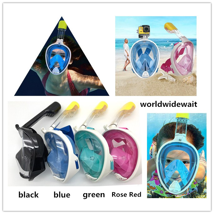1PC Swimming Diving Breath Full Face Mask Surface Snorkel Scuba For GoPro S/L hwcamera mount diving mask scuba snorkel swimming goggles for gopro hero 2 3 new arrival