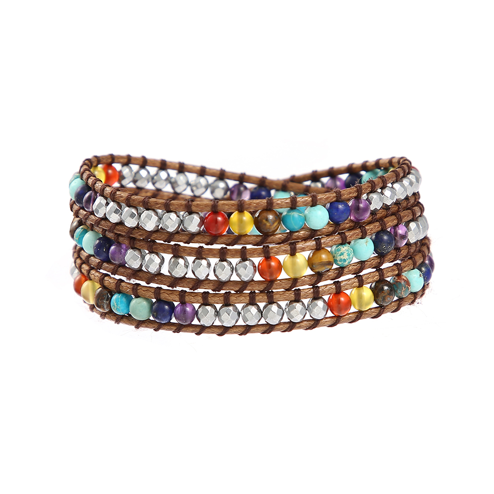 Us 6 0 20 Off 7 Chakra Natural Stone Healing Hemae Balancing Statement Wrap Around Rainbow Bracelet For Women In Bracelets From Jewelry
