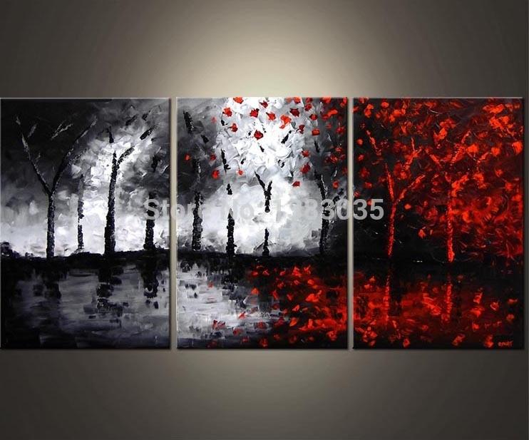 Ручная роспись масляной стены абстрактные черно белые и красные картины 3 шт современное дерево холст Картина гостиная украшение набор