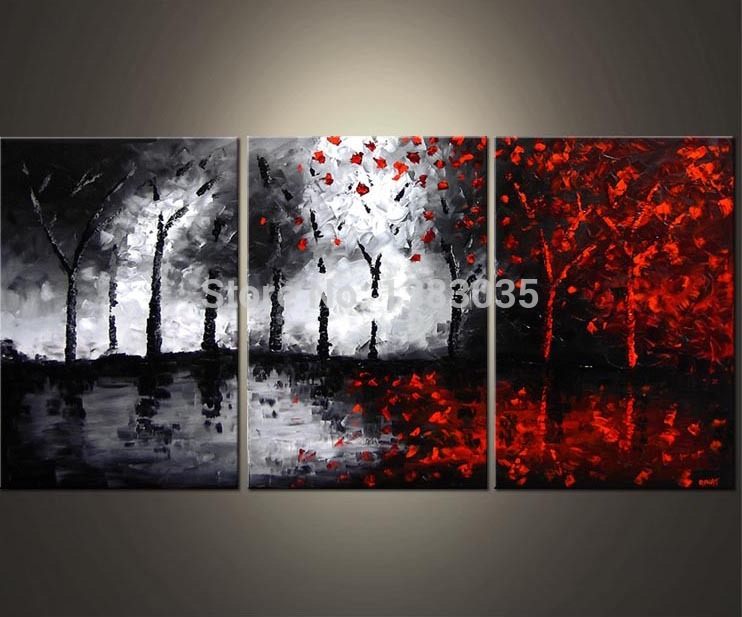 f4c440cd5c0 Hand Painted Oil Wall Art Abstract Black White And Red Paintings 3 Piece  Modern Tree Canvas Picture Living Room Decoration Set