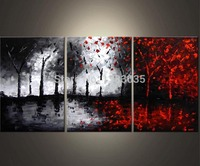 Hand Painted Oil Wall Art Abstract Black White And Red Paintings 3 Piece Modern Tree Canvas Picture Living Room Decoration Set