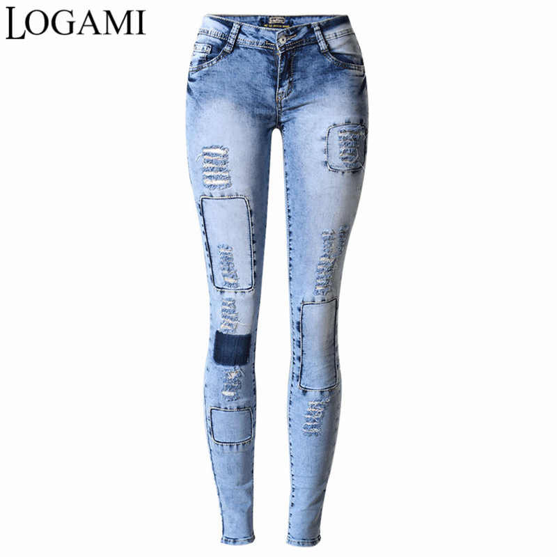 1ef5cc987183 LOGAMI Ripped Jeans for Women Holes Skinny Jeans Slim Femme Womens Jeans  Elastic Patchwork Pantalones Vaqueros