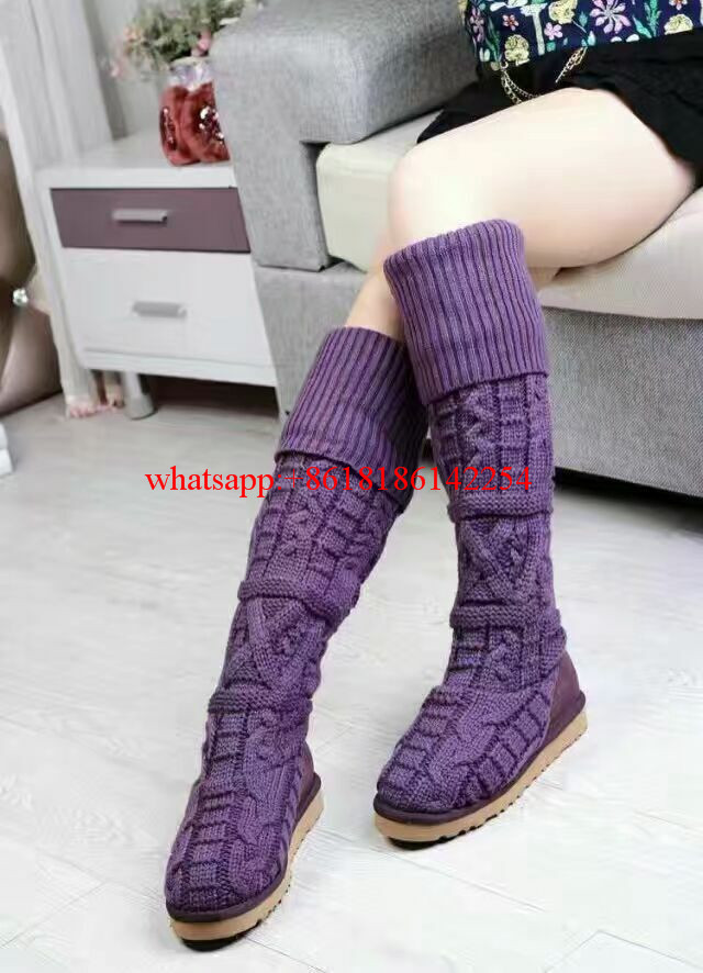 Autumn and Winter Warm Knitted Wool Snow Boots Female Knee-High Winter Boots Shoes Women Casual Shoes Botas Mujer 2016