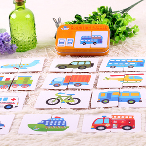 Image 3 - Children Educational Game Puzzle Montessori Baby Cards Toys Graph Match Kids Cognitive Early Cartoon Vehicle Learning Card