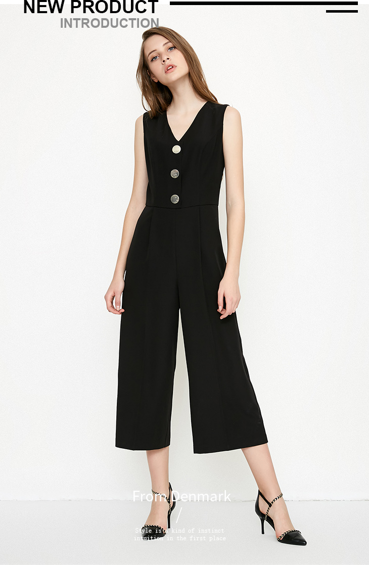 Vero Moda spring fashionable V-collar loose-leg cropped Jumpsuits for women |318144507 6