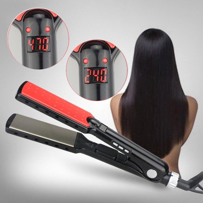 """특허 디자인 """"7""""모양 초박 머리 직선 기 세라믹 Ionic 빠른 난방 LED 머리 직선 철 뜨거운 판매 새로운 도착"""
