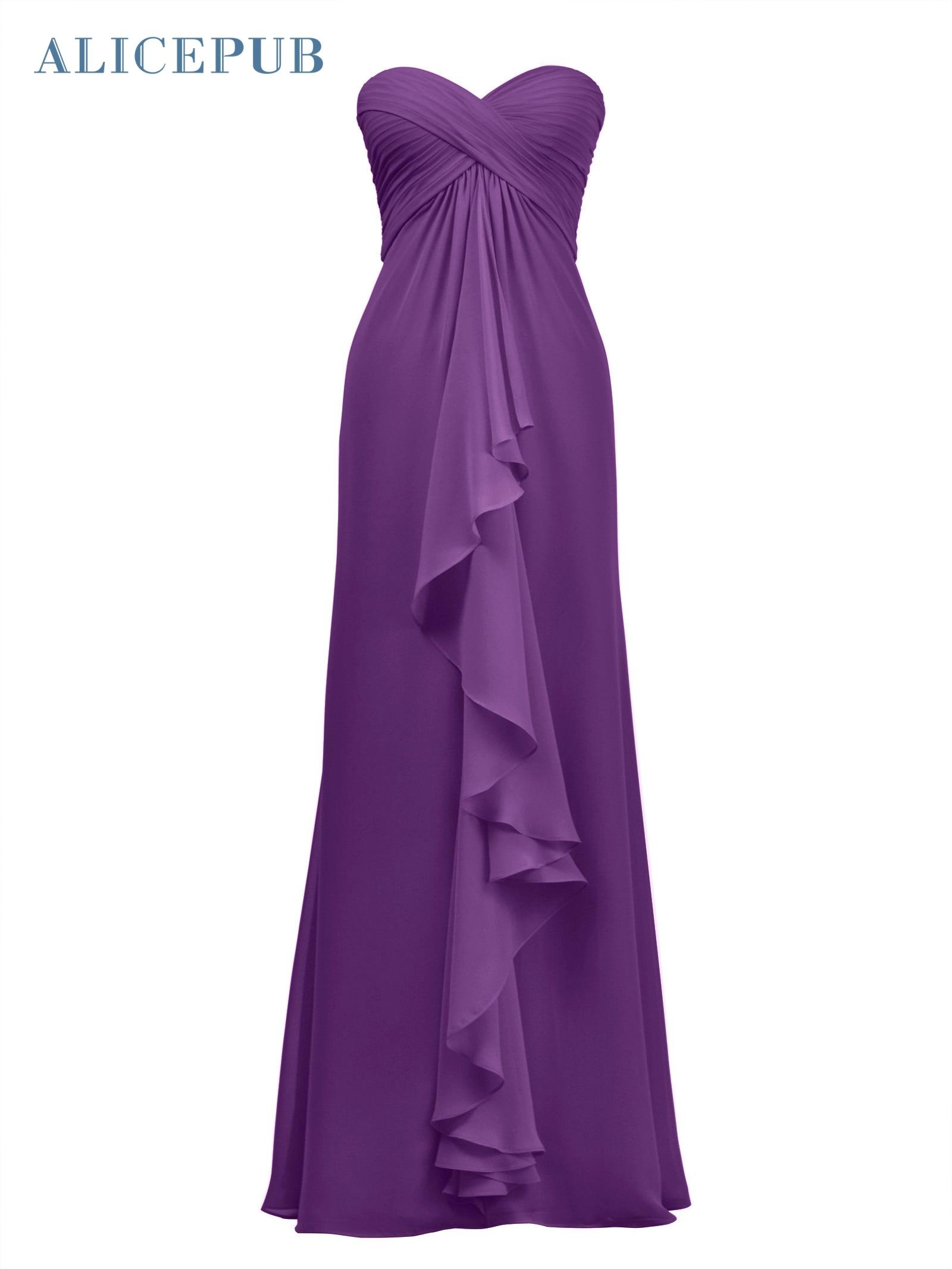 Alicepub Chiffon Bridesmaid Dresses Long Formal Dresses Prom Evening Gown