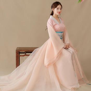 China elegant Hanfu style Fairy costume elegant clothing wide sleeve stage installs guzheng dance trailing Ru skirt sping autumn