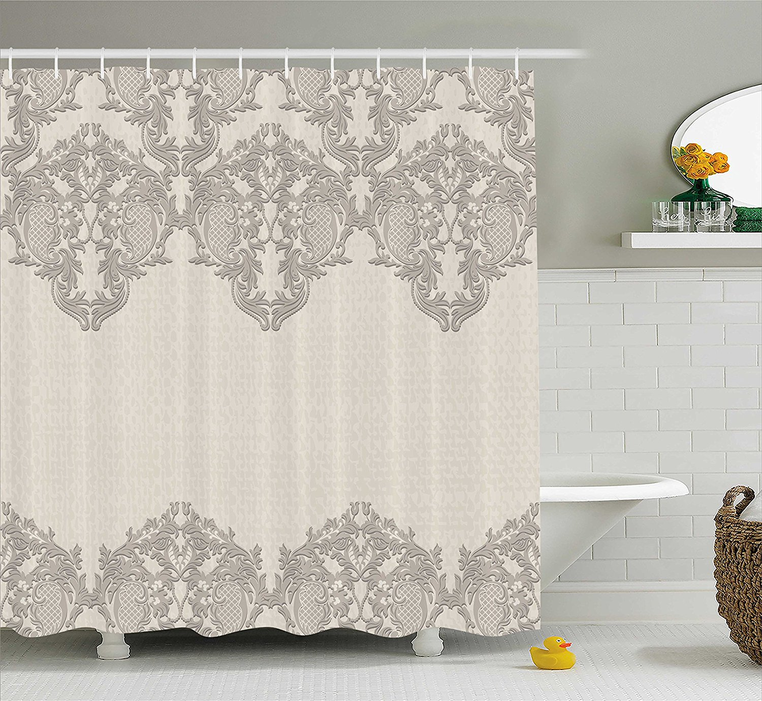 Taupe Shower Curtain Lace Like Framework Borders With Arabesque Details Delicate Intricate Retro Dated Print Decor Set In Curtains From Home Garden