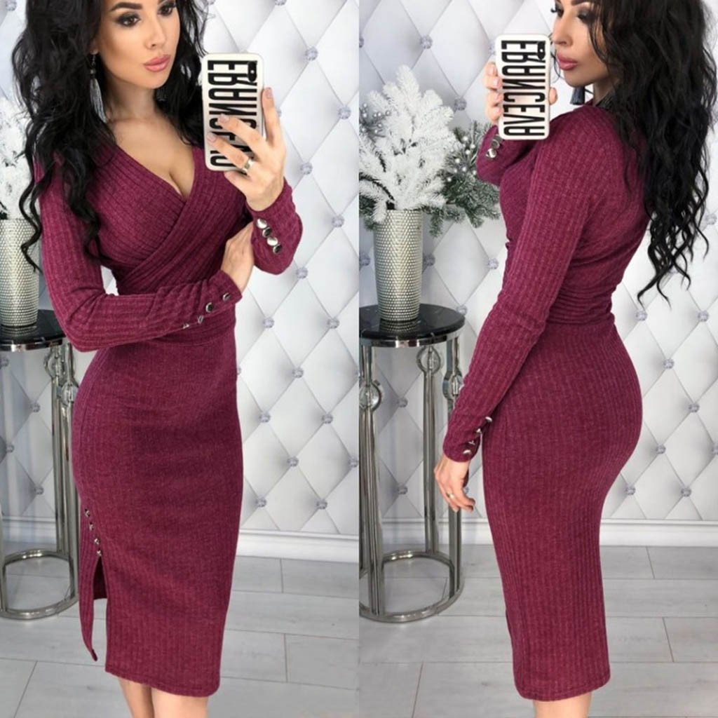 Women Autumn Knitted Bodycon Dress Sexy Deep V-neck Rivet Button Long Sleeve Knitwear Elegant Casual Knee-Length Dresses