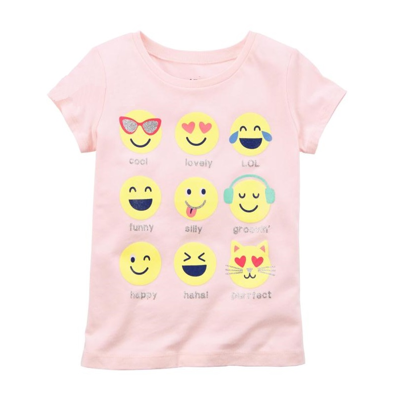 2018 Baby Girl Tees Shirts Expression Face Newborn Tops 100% Cotton Children Clothes Toddler Blouse Kids Outfits Cute Babywear