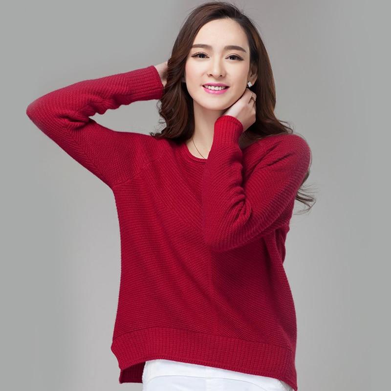 Otoño e invierno suéter de las mujeres suelta de manga larga jersey de engrosami