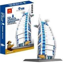 Wange 8018 1307 sztuk dubaj hotelu Burj Al Arab klocki kreatywny DIY prezenty klocki zabawki edukacyjne dla dzieci