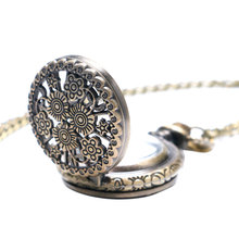 Bronze Vintage Stylish Beautiful Flower Small Size Quartz Pocket Watch Necklace for Womens Ladies Gifts Relogio De Bolso Antigo