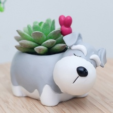 Creative Cartoon Dogs Flower Vase Puppy Resin Planter för Succulents Söt Corgi Mini Flower Pot Desktop Pot Hem Garden Bonsai