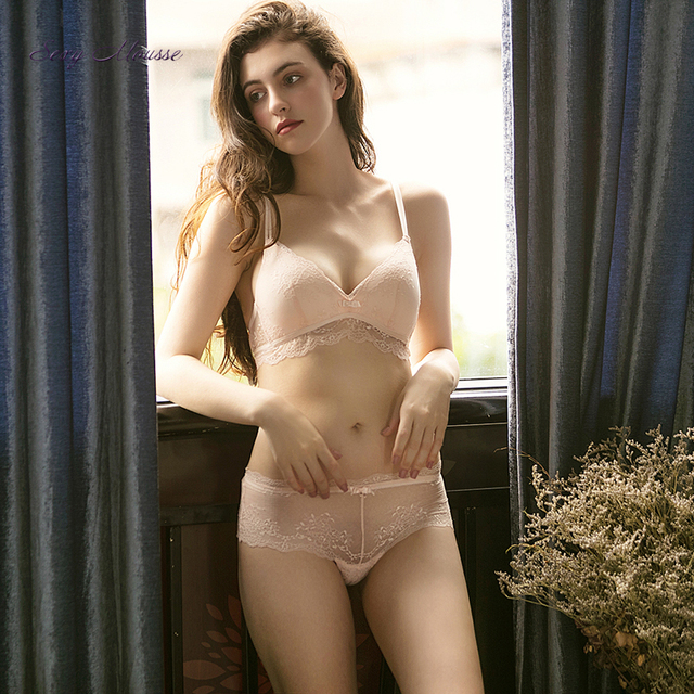 ca5577f171 Sexy Mousse young girl Light Pink Plunge Underwear comfort wireless  Multi-way Bras Lace Mesh bra Thong Panty For Women