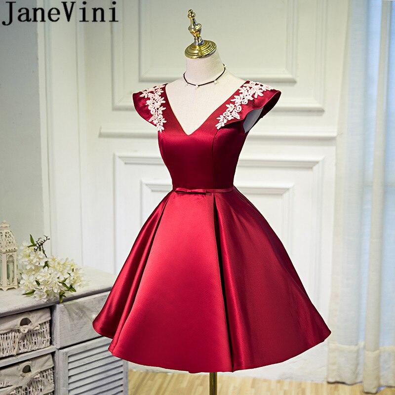 JaneVini 2018 Elegant Satin Homecoming   Dresses   Short Cap Sleeve White Lace Women Wedding Party   Bridesmaid     Dress   Sukienki Druhna