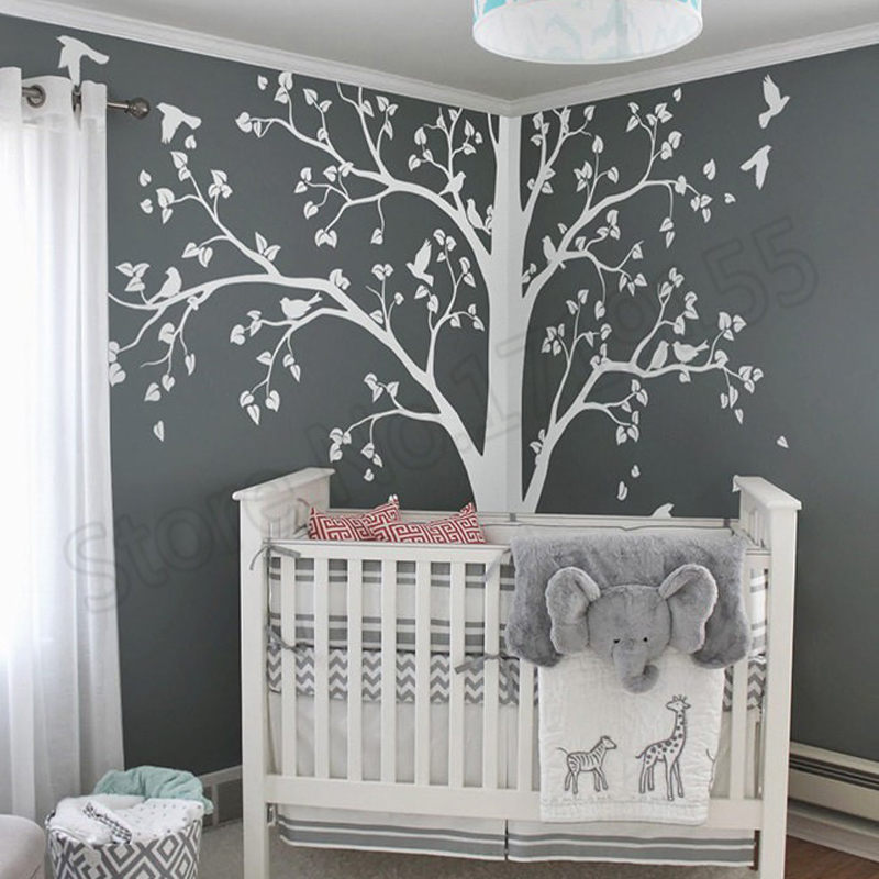 Cute Huge Tree With Falling Leaves And Birds Wall Sticker Kids Bedroom Sweet Decor Children Tree