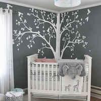 Милое огромное дерево с падающими листьями и птицами, Настенная Наклейка для детской спальни, милый Декор, детское дерево, виниловая роспис...