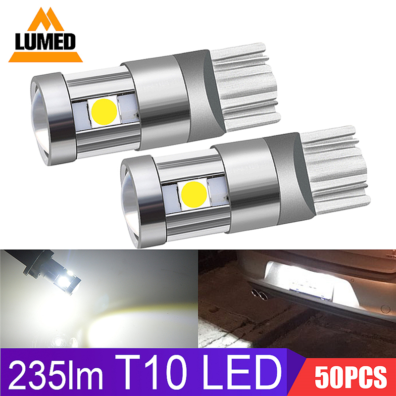 50x T10 LED Car light Bulb 194 W5W 5 LED 501 3030 SMD Auto Turn Side