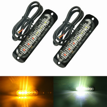 2pc 12V 24V 6 Led Strobe Warning Light Strobe Grille Flashing Lightbar Truck Car Beacon Lamp Amber Red Blue White Traffic light vsled 8 x 4 led emergency lights grill light car truck beacon light bar flashing strobe warning amber white led lightbar
